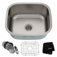 Kraus KBU11 Premier Undermount 20-in 16G 1-Bowl Satin Stainless Steel Kitchen Sink, Grid, Strainer, Towel