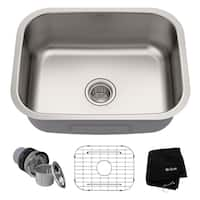 Kraus KBU12 Premier Undermount 23-in 16G 1-Bowl Satin Stainless Steel Kitchen Sink, Grid, Strainer, Towel