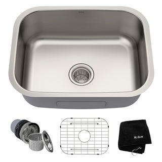 KRAUS 16 Gauge Stainless Steel 23 Inch Undermount Single Bowl Kitchen Sink  With NoiseDefend Soundproofing