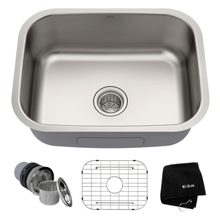 kraus 23 inch undermount single bowl 16 gauge stainless steel kitchen sink with noisedefend soundproofing kitchen sinks for less   overstock com  rh   overstock com