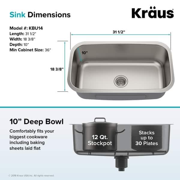 Shop Kraus KBU14 Undermount 31-1/2 in. 1-Bowl Stainless ...