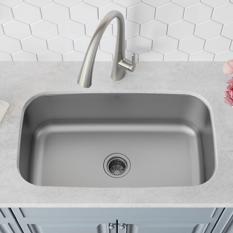 Kraus KBU14 Premier Undermount 31-1/2-inch 16 gauge Single Bowl Satin Stainless Steel Kitchen Sink