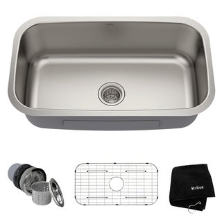 Kraus KBU14 Premier Undermount 31-1/2-in 16G 1-Bowl Satin Stainless Steel Kitchen Sink, Grid, Strainer, Towel
