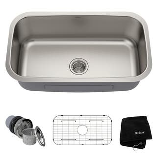 Kraus KBU14 Undermount 31-1/2 in. 1-Bowl Stainless Steel Kitchen Sink
