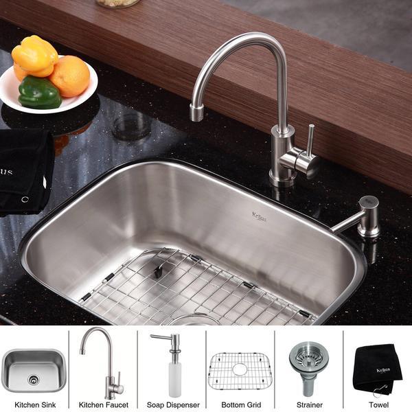 Kraus 23 Undermount Sink : KRAUS 23 Inch Undermount Single Bowl Stainless Steel Kitchen Sink with ...