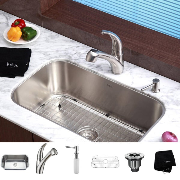 KRAUS 31 1/2 Inch Undermount Single Bowl Stainless Steel Kitchen Sink with Pull Out Kitchen Faucet and Soap Dispenser
