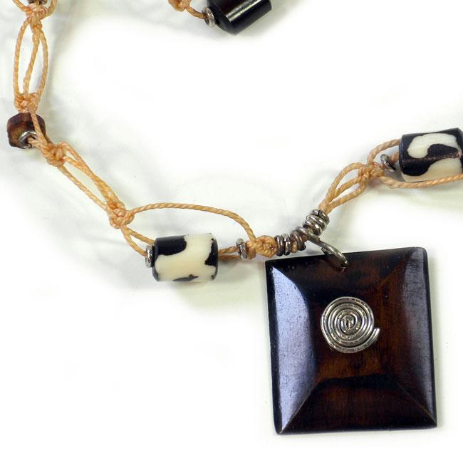 Recycled Car Tire and Bone New Again Necklace (Kenya)