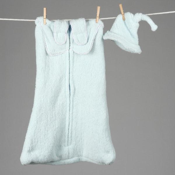 Mia Belle Baby-blue Mercerized-Cotton Wearable Blanket Slumber Tote