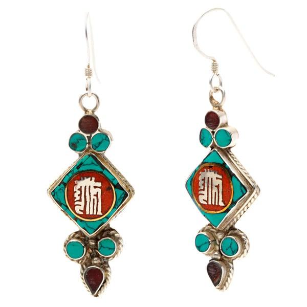 Sterling Silver Gemstone Kaal-Chakra Script Earrings (Nepal)