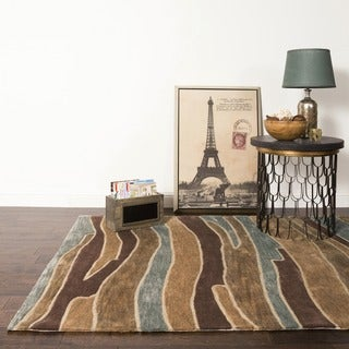 Hand-tufted Ackworth Blue Abstract Rug (3'6 x 5'6)