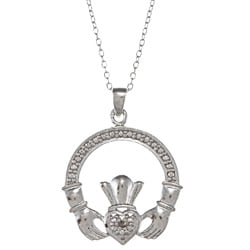 DB Designs Sterling Silver Diamond Accent Claddagh Necklace