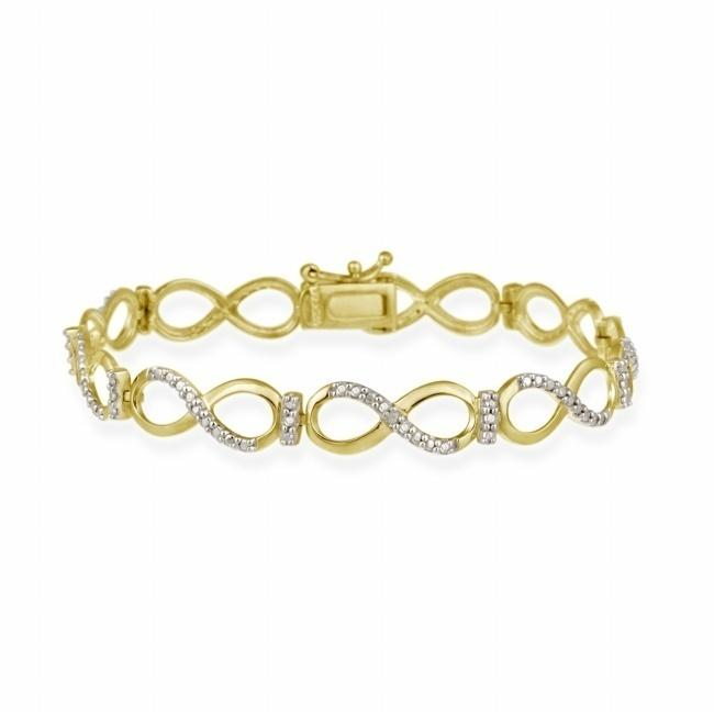 DB Designs Gold over Silver Diamond Accent Infinity Link Bracelet