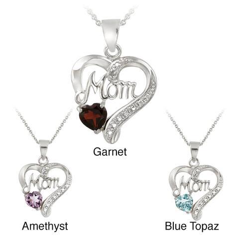 Glitzy Rocks Silver Gemstone and Diamond Accent Heart Necklace