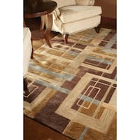 Hand-tufted Ackworth Brown Abstract Rug - 7'10 x 11'