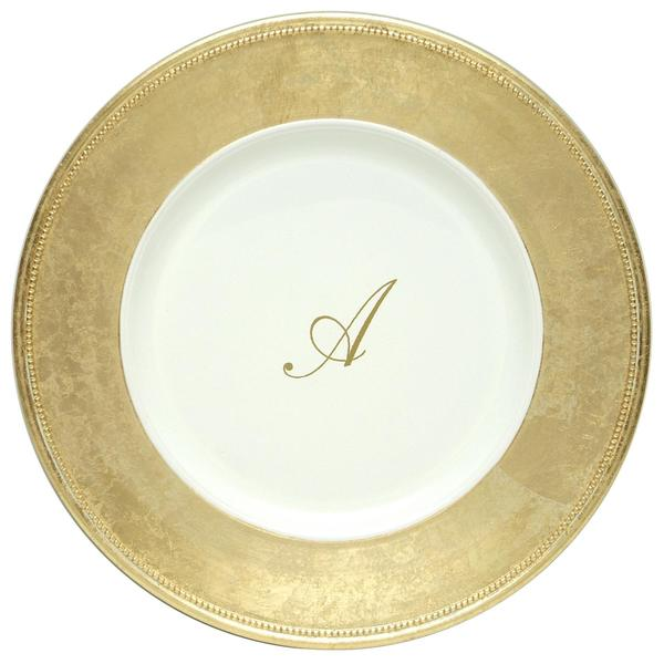ChargeIt! by Jay 13-inch Gold Monogram Chargers (Pack of 8)