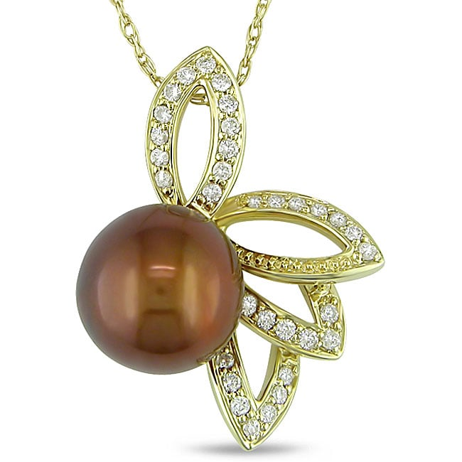 10k Gold Brown Pearl and 1/5ct TDW Diamond Necklace (H-I, I2-I3) (9.5-10 mm)