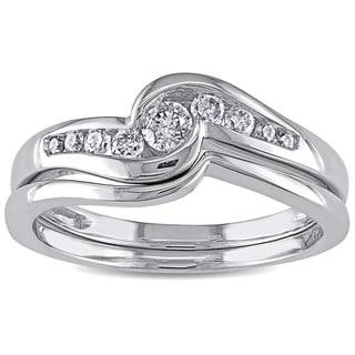 Miadora 14k White Gold 1/4ct TDW Diamond Bridal Ring Set
