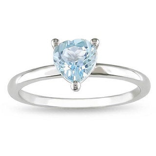 Miadora Sterling Silver Blue Topaz Heart-shaped Ring