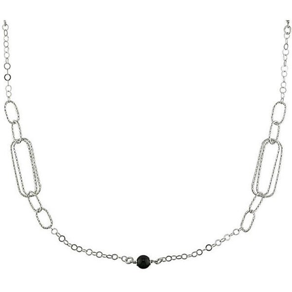 Miadora Sterling Silver Multi-link and Bead Necklace