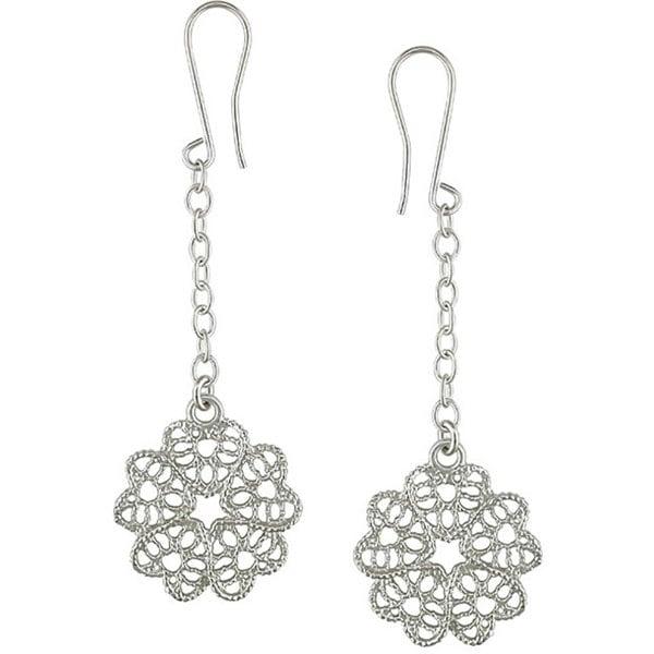 Miadora Sterling Silver Flower Dangle Earrings