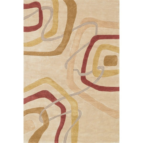 Hand-tufted Ackworth Gold Abstract Rug - 7'10 x 11'