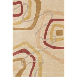 Hand-tufted Ackworth Gold Abstract Rug (7'10 x 11')
