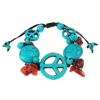 Cotton World Peace Turquoise/ Coral Pull Bracelet (Thailand)