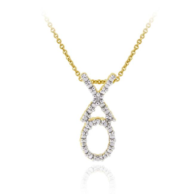 DB Designs Gold over Silver XOXO Diamond Accent Hugs and Kisses Necklace