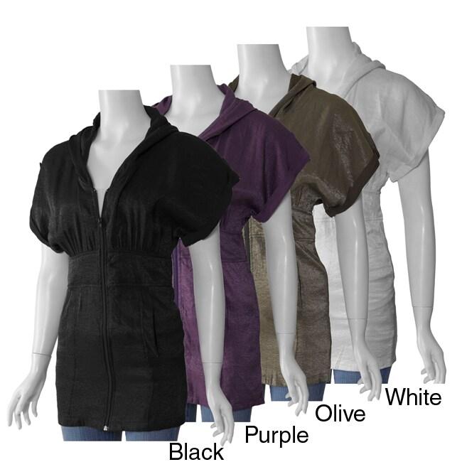 Runway Junior's Zipper-front Hooded Lurex Tunic