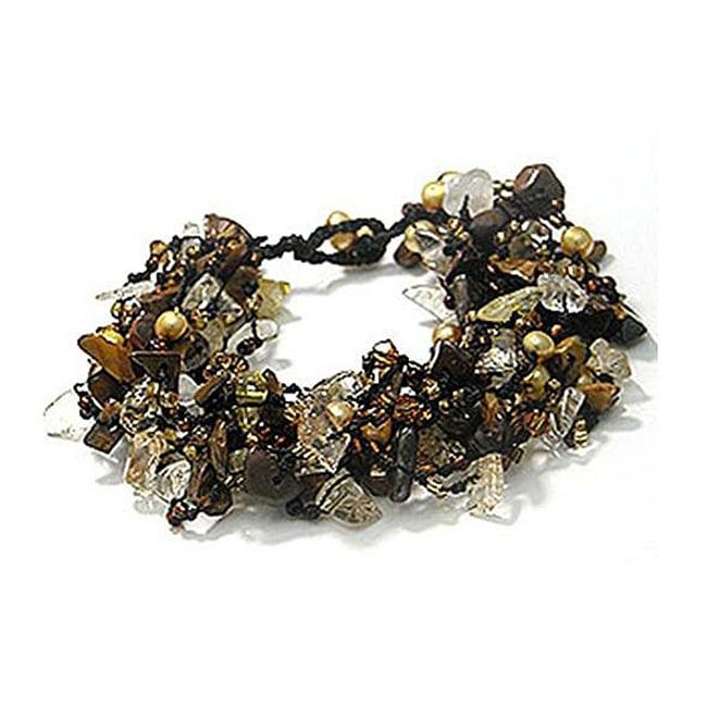 Cotton Tiger Eye/ Pearl/ Crystal Cluster Stone Bracelet (Thailand)