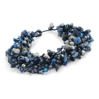 Cotton Turquoise/ Pearl/ Crystal Cluster Stone Bracelet (Thailand)