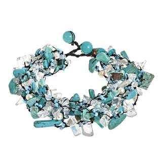 Link to Handmade Cotton Pearl Crystal Synthetic Coral Cluster Stone Bracelet (Thailand) Similar Items in Bracelets