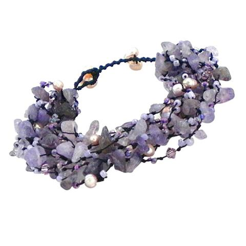 Handmade Cotton Pearl Crystal Synthetic Coral Cluster Stone Bracelet (Thailand)