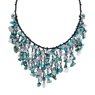 Handmade Cotton Turquoise Waterfall Cluster Necklace (Thailand)