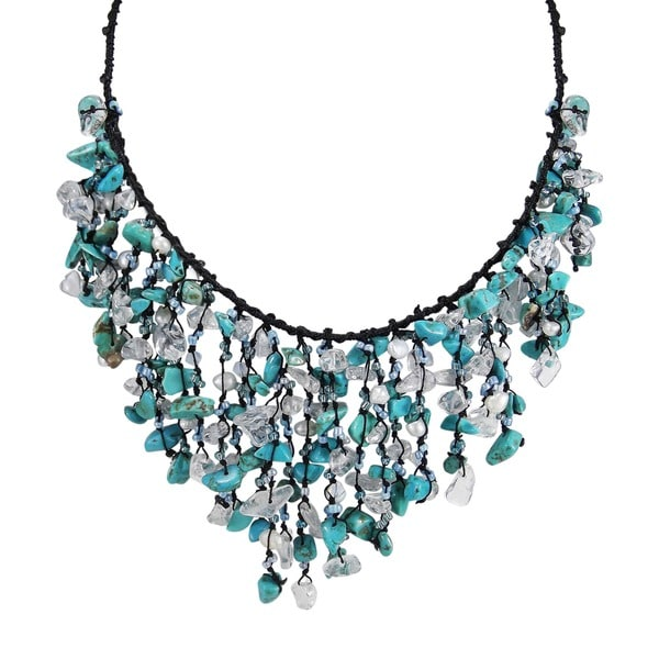 Cotton Turquoise Waterfall Cluster Necklace (Thailand)