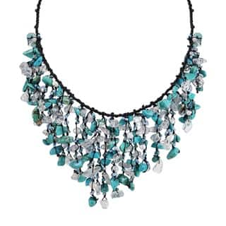 Handmade Cotton Turquoise Waterfall Cluster Necklace (Thailand)|https://ak1.ostkcdn.com/images/products/5071484/P12931080.jpg?impolicy=medium