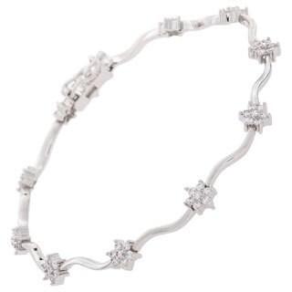 NEXTE Jewelry Rhodium Overlay Cubic Zirconia Flower Tennis Bracelet