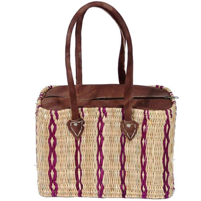 Straw and Leather Classic II Handbag (Morocco)