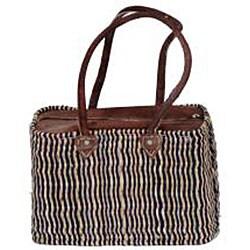 Straw and Leather Classic II Handbag (Morocco) - Thumbnail 1
