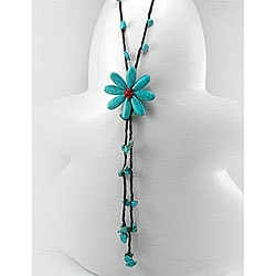 Handmade Cotton Center of Attention Turquoise and Coral Necklace (Thailand)
