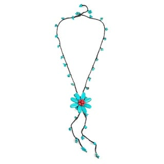 Cotton Center of Attention Turquoise and Synthetic Coral Necklace