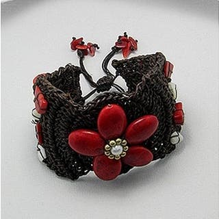Handmade Cotton Synthetic Coral Pearl Flower Pull Bracelet (Thailand) https://ak1.ostkcdn.com/images/products/5071517/P12931097.jpg?impolicy=medium