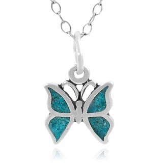 Journee Collection Sterling Silver Turquoise Butterfly Necklace