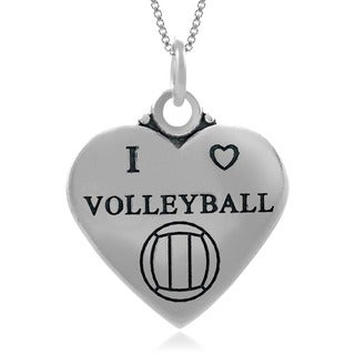 Journee Collection Sterling Silver 'I Love Volleyball' Heart Necklace