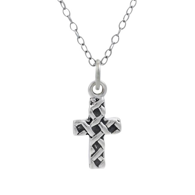 Journee Collection  Sterling Silver Children's Woven Cross Necklace