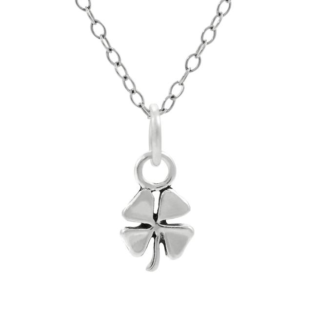 Journee Collection  Sterling Silver Children's 4-leaf Clover Necklace