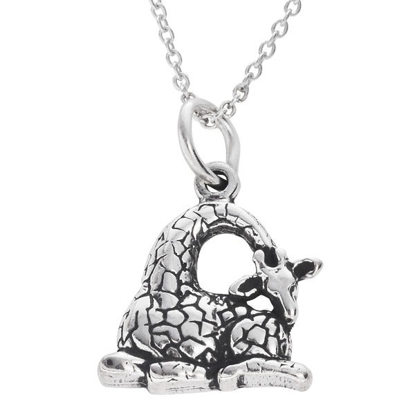 Journee Collection  Sterling Silver Children's Giraffe Necklace