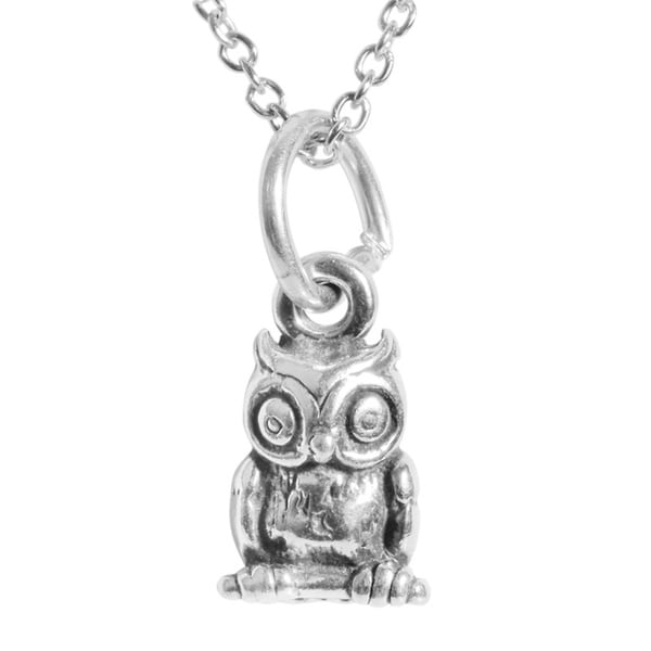 Journee Collection Sterling Silver Children's Owl Necklace