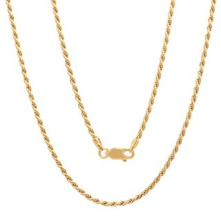 Sterling Essentials 14K Gold over Silver 2mm Diamond-cut Rope Chain (16-30 inch) (Option: 30 Inch)