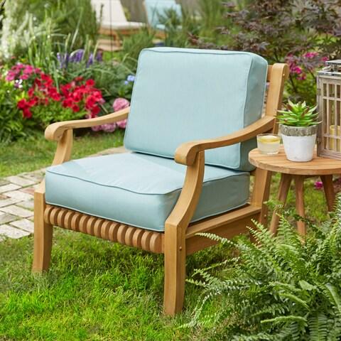 Kokomo Teak Sunbrella Fabric Back Cushion Lounge Chair Seat Set